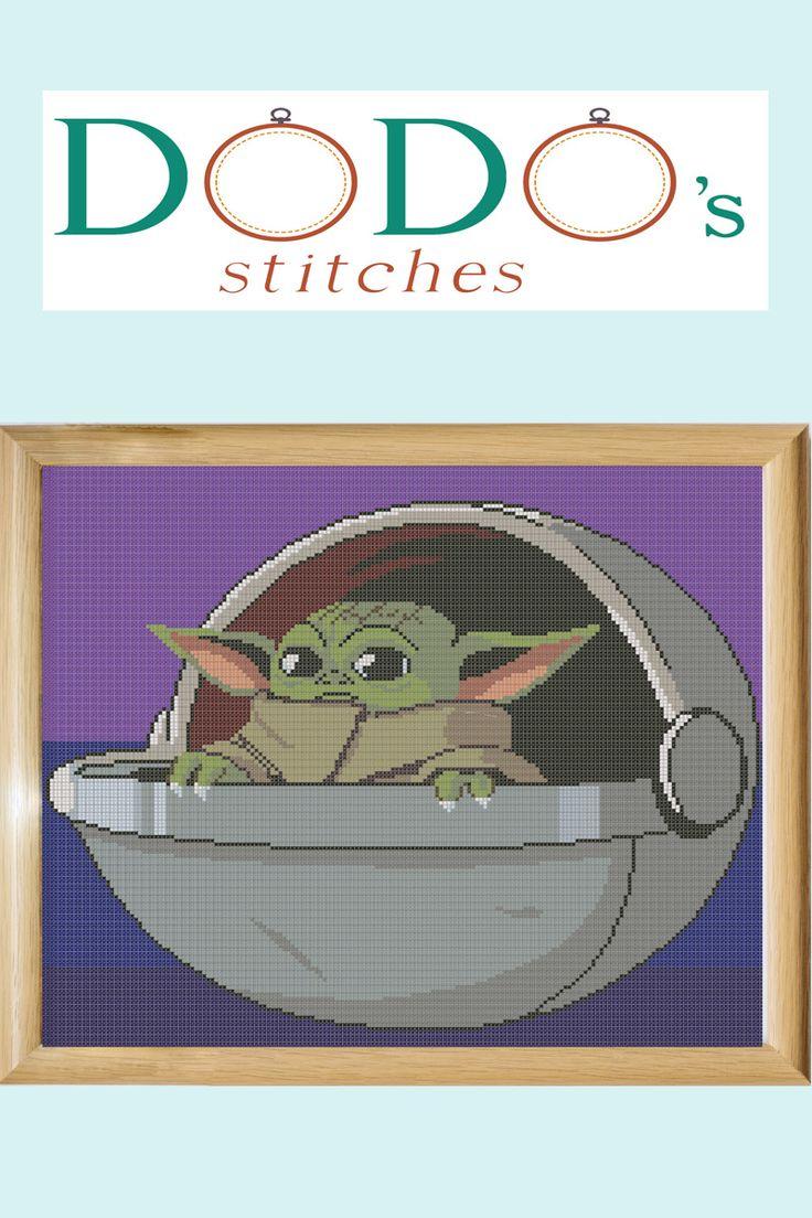 Star Wars Cross Stitch Pattern, Baby Yoda, Mandalorian, X