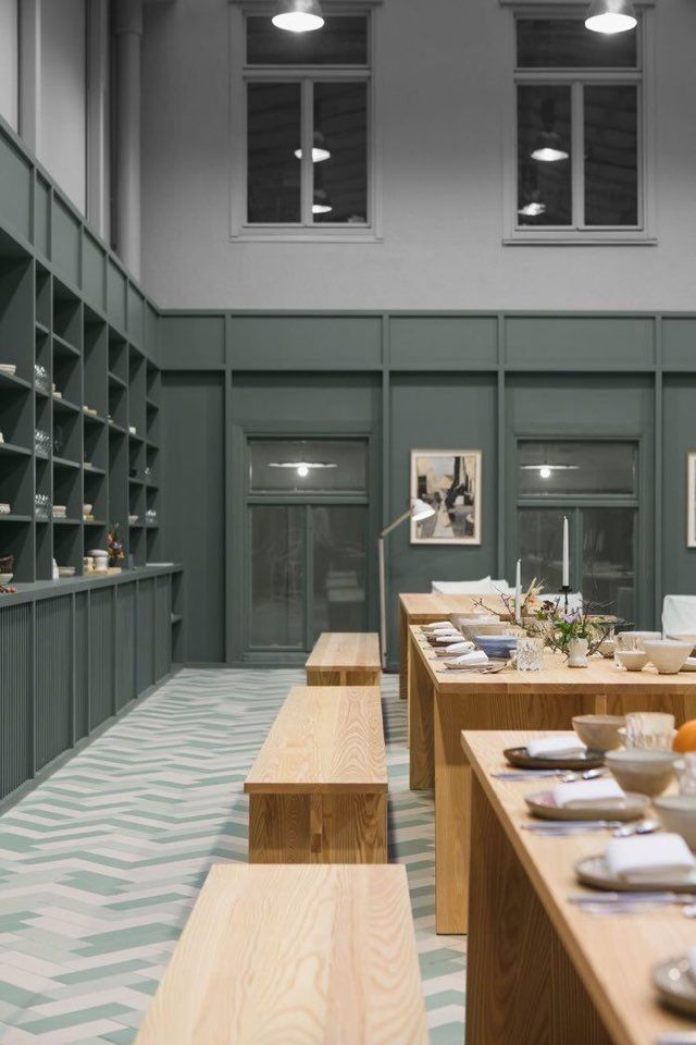 Grand scale of open dining space. Alma creative space Stockholm by Tham &  Videgrd