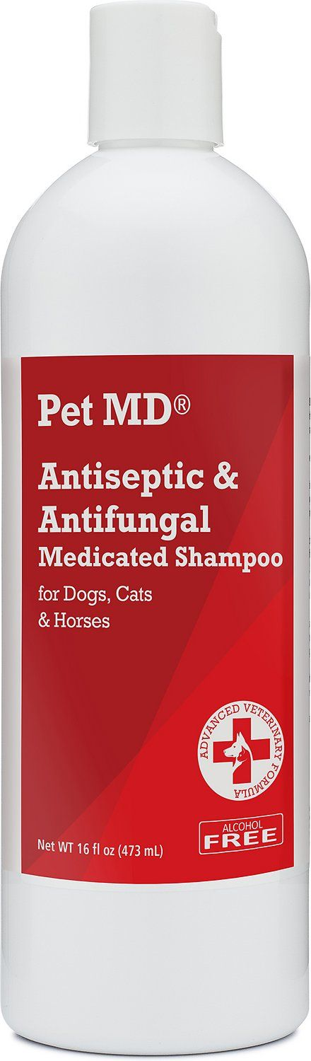 Help keep your pal's skin clean while soothing common skin conditions with the Pet MD Antiseptic & Antifungal Medicated Dog, Cat & Horse Shampoo. This skin-friendly shampoo deep cleans your pal's skin and coat and works to deodorize and relieve fungal and bacterial skin infections like hot spots, ringworm, and acne, as well as superficial cuts, abrasions and insect bites. Because the formula is soap-free and paraben-free, it helps prevent irritation that can actually aggravate distres...