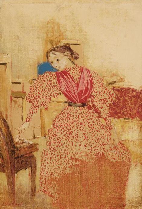 """huariqueje: """" Demoiselle en Rouge - Edouard Vuillard 1893 French 1868-1940 Oil on canvas, 35.6 x 24.1 cm. (14 x 9.5 in.) """""""