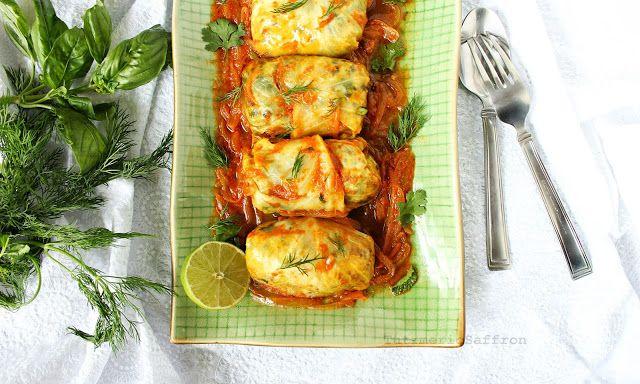 Turmeric and Saffron: Dolmeh Barg-e Kalam - Persian Stuffed Cabbage Leav...