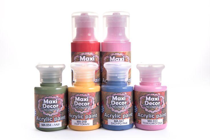 Ακρυλικό χρώμα βάσεως νερού μελετημένο για decoupage. Εύκολο στη χρήση, με εξαιρετική καλυπτικότητα με ένα μόνο χέρι. Έχει πρόσφυση ακόμη και στις πιο δύσκολες επιφάνειες όπως ξύλο, γυαλί, μέταλλο, πέτρα, πλαστικό κλπ. ακόμα και χωρίς να εφαρμοστεί κάποιο  αστάρι (εκτός αν δεν είναι καθαρές και ελεύθερες από σαθρά ξεφλουδισμένα χρώματα, σκόνες και λάδια).