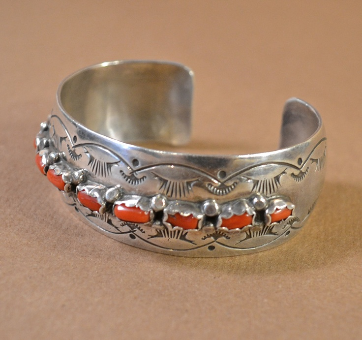 Sterling Silver Native American Cuff Bracelet with Coral. $160.00, via Etsy.