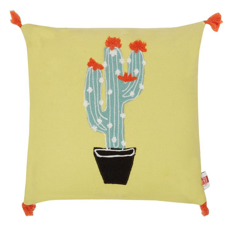 From our exclusive range by Ben de Lisi, this cushion is perfect for adding a pop of colour to any home interior. Featuring a bold cactus applique, this quirky piece features bright orange tasselled detailing and is ideal for introducing contemporary charm to any room.