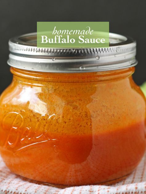 Homemade Buffalo Sauce | Don't buy store bought sauce, make your own! Perfect for chicken wings. http://www.honeyandbirch.com #condiment #sauce