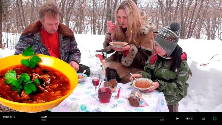 Суп Харче, по Абхазски на снегу. Смотреть до конца!