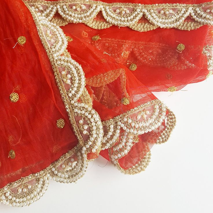 Vibrant Bridal Red! This net dupatta is every bride's dream!