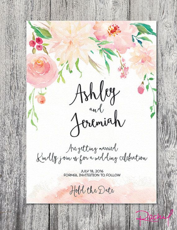 House of Ollichon loves...Save the date watercolor floral spring summer wedding invitation. #springwedding #alternativeweddingdress #bridalwear #jumpsuit #twopiece #weddinginspiration