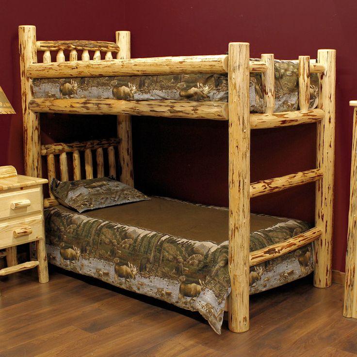 Montana twin over twin log bunk bed ezra daniel for Log loft bed