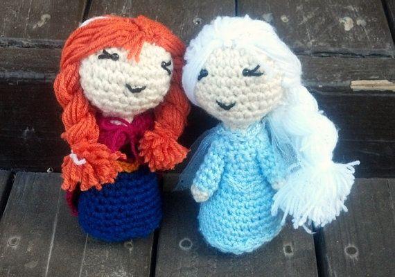 Little Elsa and Anna doll set by TrishasBeaniesNStuff on Etsy, $35.00
