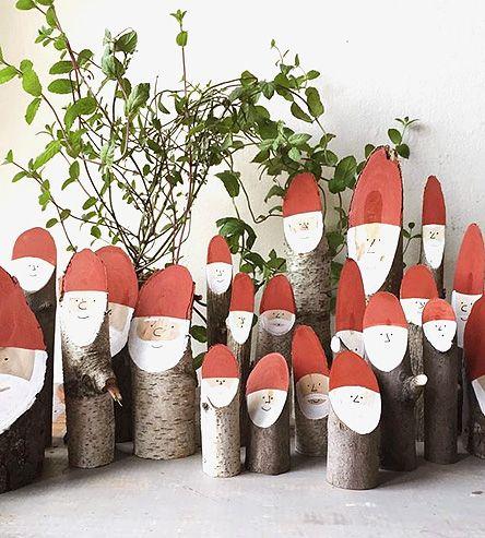 Painted Log Santas, Set of 6 by Collin Garrity