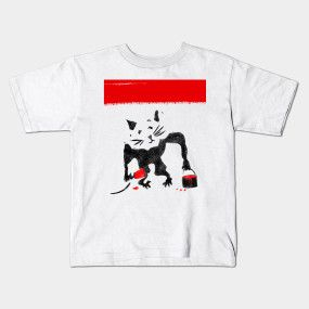 rat with a tin of red paint graffiti stencil t-shirt