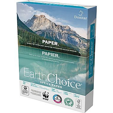 """Domtar EarthChoice® FSC-Certified Copy Paper, 20 lb., 8-1/2"""" x 11"""", Ream"""