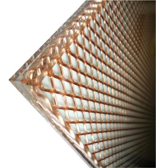 Glass laminated metal mesh glass laminated brass glass - Fabric that looks like metal ...
