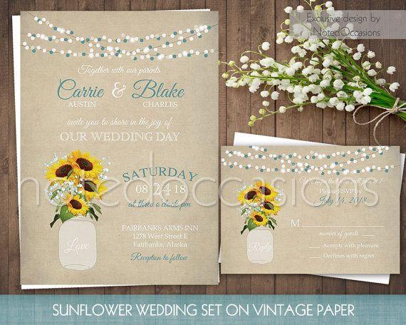 Rustic Wedding Invitation Printable, Mason Jar Wedding Invitation Sunflower Wedding Teal Country Wedding, String Lights Digital Template DIY by NotedOccasions