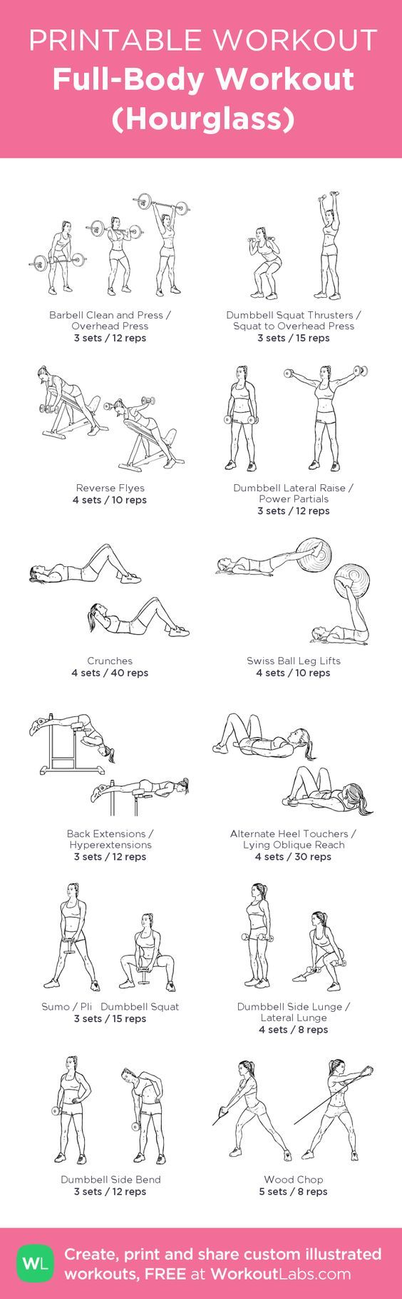 Full-Body Workout (Hourglass): my visual workout created at WorkoutLabs.com • Click through to customize and download as a FREE PDF! #customworkout: