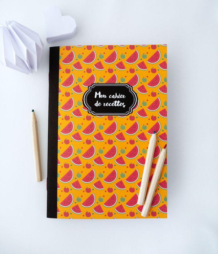 Cahier de recettes de 14x20cm illustré de pastèques et de pommes : Carnets, agendas par papierpapier