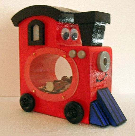 Childrens Train Bank, Wooden Whimsical Savings Bank.- Pinned by Kidherostories.com -personalized children's books with photo and name.