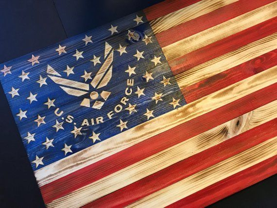 38x19 Wooden American Flag W Air Force Logo Customizable Flag Wood Burned Flag Rustic Flag Sign Flag Gift Distressed Flag Wall Decor Wooden American Flag American Flag Wood Wooden Flag