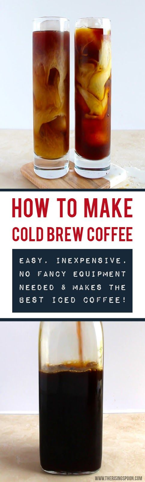 Learn how to make the best cold brew coffee at home using two simple ingredients and a few household items likely sitting in your kitchen right now. This cold infusion method produces gloriously smooth, strong coffee that's less acidic, not bitter, and tastes just like the expensive coffeehouse stuff. | DIY Food Recipes | Food Gift Ideas |