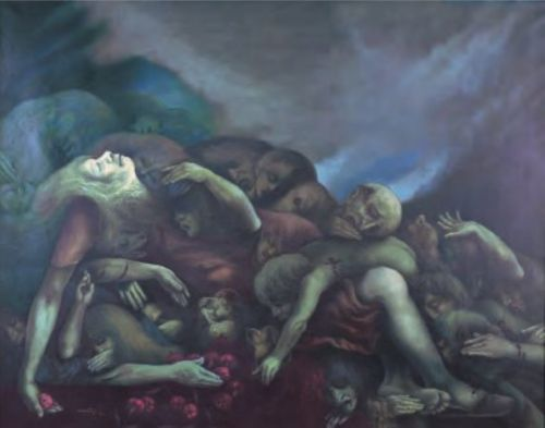 Carlos Cañas| 1924-2013| Salvadoran El Sumpul| 1984 | Óleo sobre lienzo| Colección MARTE