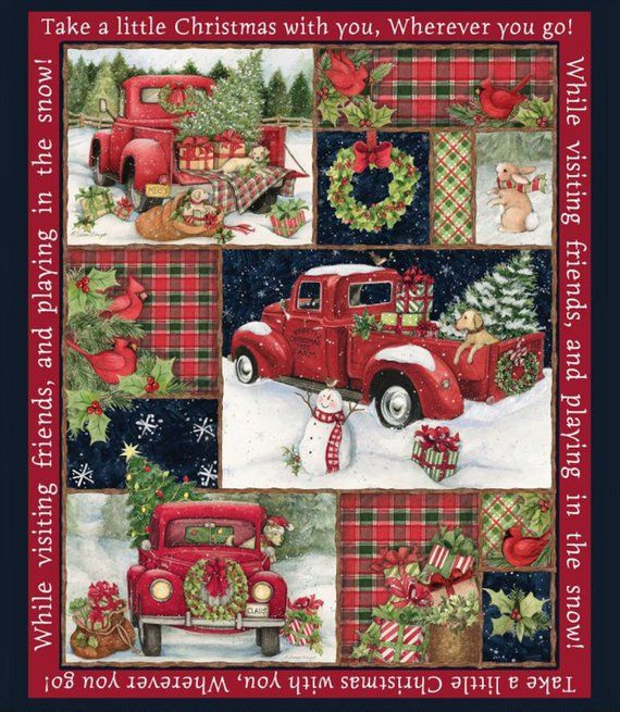 Christmas Fun Red Farm Truck Quilt Panel with Backing