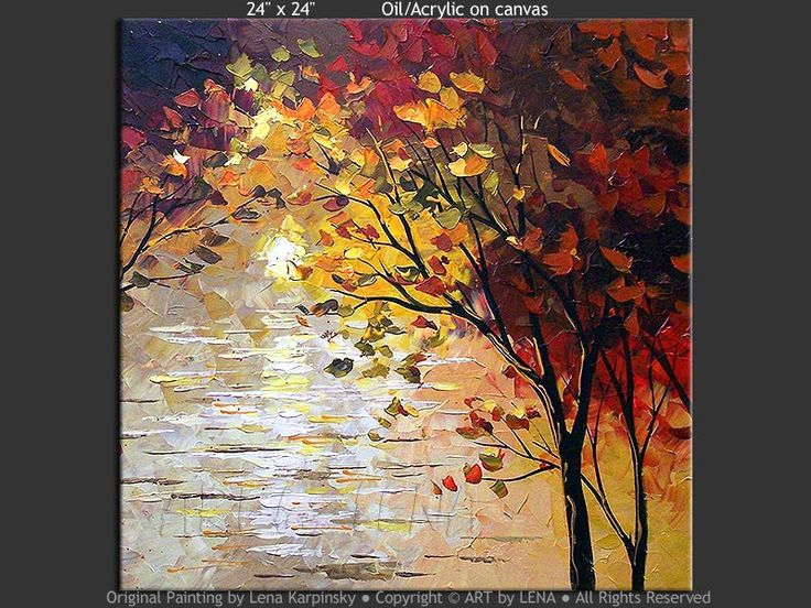 Canvas painting by Lena Karpinsky ⋆ My Lake ⋆ buy now or order a commission. Original home decor art for your home interior.