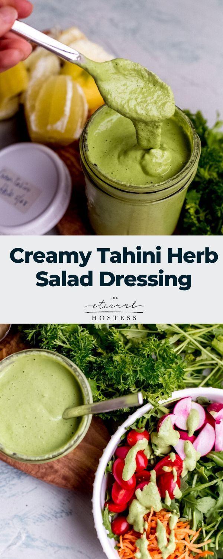 Creamy Tahini Herb Salad Dressing Recipe Salad Dressing Salad Dressing Recipes Tahini Salad Dressing [ 1500 x 600 Pixel ]