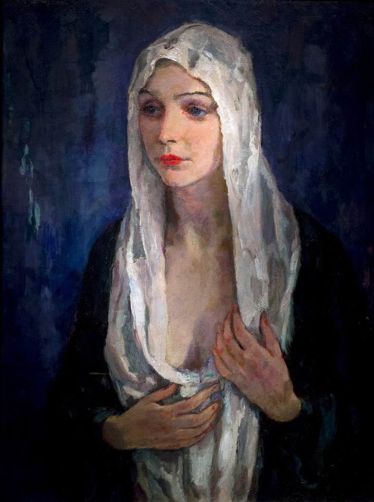 Johannes Carolus Bernardus (Jan) Sluijters (Dutch, 1881-1957) - Portrait of a Lady with a White Scarf