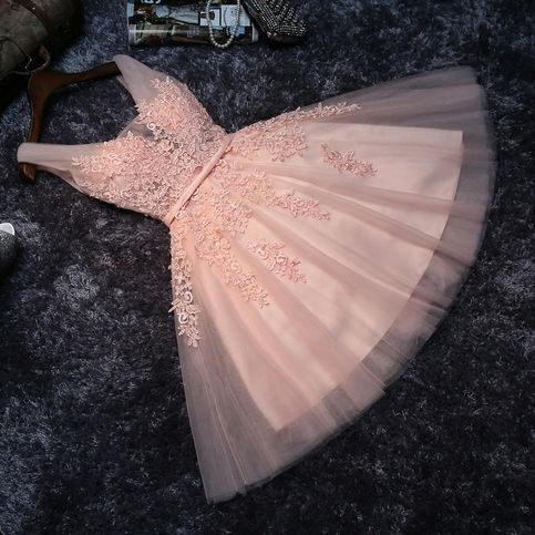 High quality pink lace short prom dress,homecoming dress,bridesmaid dress