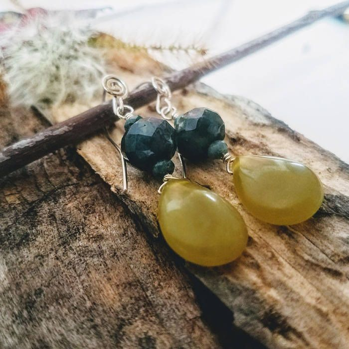 Natural Gemstone Fall Fashion Autumn Green Olivine Indian Agate Handmade Spiral Ear Wire Argentium Silver Dangle Tear Drop Earrings