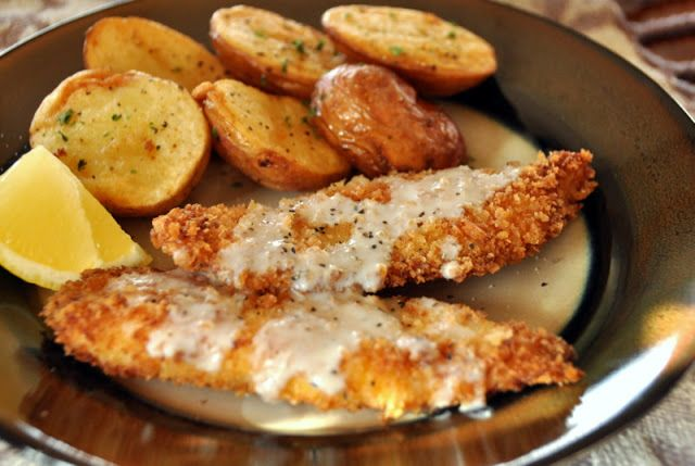 Fried Fish & Roasted Potatoes in lemon sauce. REALLY GOOD! Serve with asparagus.  my limeade would be good with this.