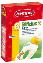 Сэмпер бифидус 2 молочная смесь с 6 мес 350г  — 473р. ---------- О продукте:  Semper Bifidus Nutradefense 2 — адаптированная последующая молочная смесь с пребиотиком лактулозой и молочным жиром.    Лактулоза способствует росту собственных бифидо- и лакто-бактерий, эффективно влияет на частоту и консистенцтию стула у детей со склонностью к запорам. Semper Bifidus обеспечивает комфортное пищеварение, устанавливает и поддерживает оптимальный баланс микрофлоры кишечника.    Состав:  Лактоза…