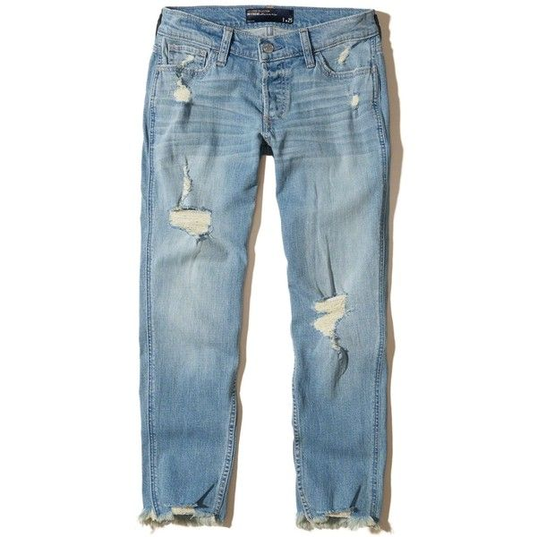 Hollister Ultra Low-Rise Slim Boyfriend Jeans ($25) ❤ liked on Polyvore featuring jeans, pants, bottoms, calça, ripped light wash, low rise boyfriend jeans, distressed jeans, distressed boyfriend jeans, torn boyfriend jeans and blue jeans