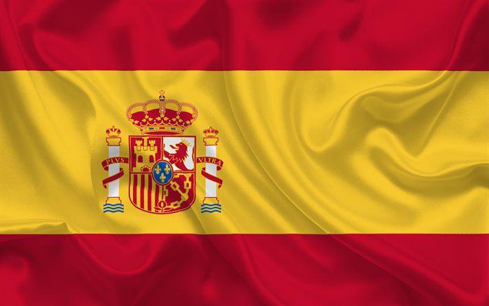 Herunterladen hintergrundbild spanische flagge, spanien, europa, seide, flagge von spanien