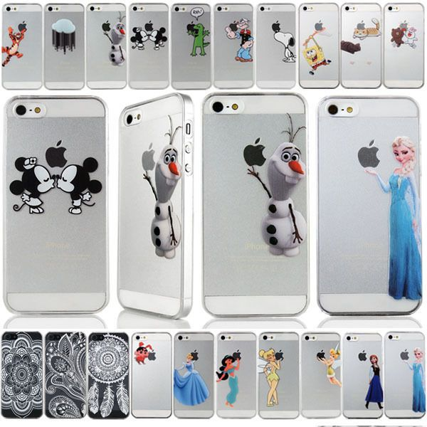 Transparent Cartoon PC hard back Case Cover Skin For iPhone 4 4S 5 5S 6 6 plus