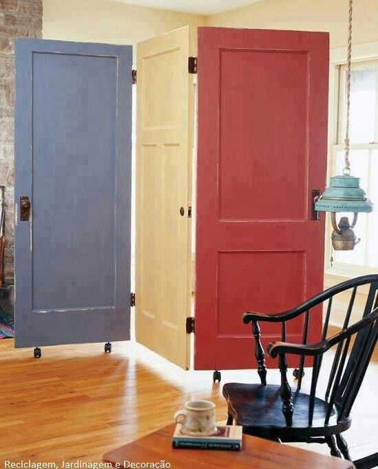 Use scrap doors as room dividers or privacy...