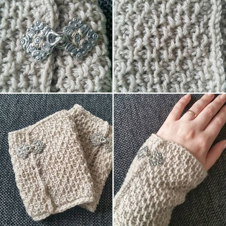 Tunisian crochet with pewter buttons