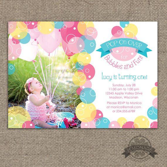 Bubble Birthday Invitation Bubbles Party by LemonadeDesignStudio