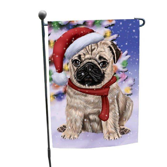 Winterland Wonderland Pug Dog In Christmas Holiday Scenic