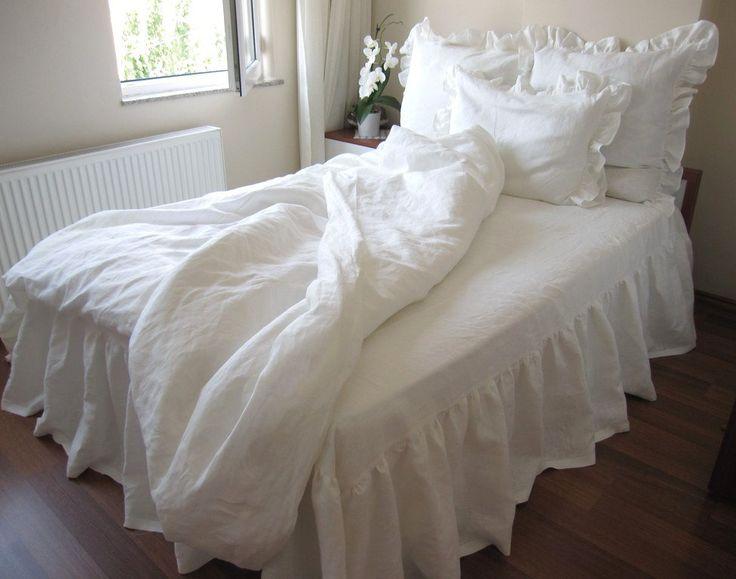 Washed Eggshell white Ivory linen ruffle sham bedding King duvet cover Euro shams bed skirt-bedspread-bedcover-5 pcs Bedding set. $495.00, via Etsy.
