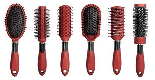 Linda Hair Brush Set, (Pack of 6) - Red. For product & price info go to:  https://beautyworld.today/products/linda-hair-brush-set-pack-of-6-red/
