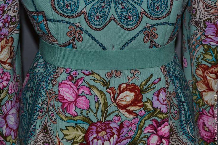"""Купить Платье из платка """"Княжеский"""" в мятной гамме. - мятный, цветочный, одежда из платков, стильное платье"""