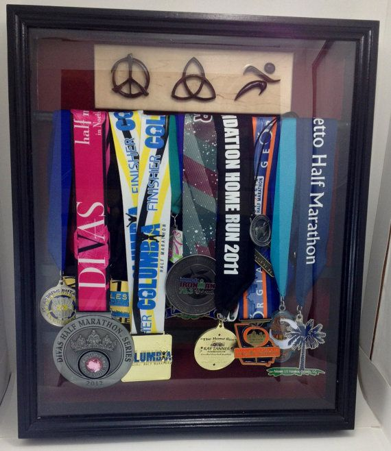 Running Medal Holder Shadow Box Medal Display for Any Runner Triathelete Marathon Finisher Medals Symbols Ironman swimming biking