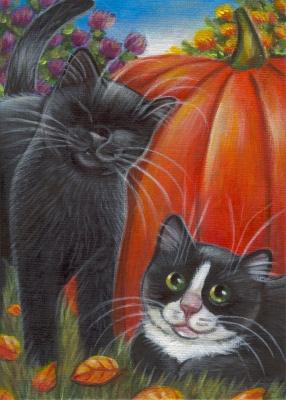 Black & Tuxedo Kitties - Fall Painting in Acrylics