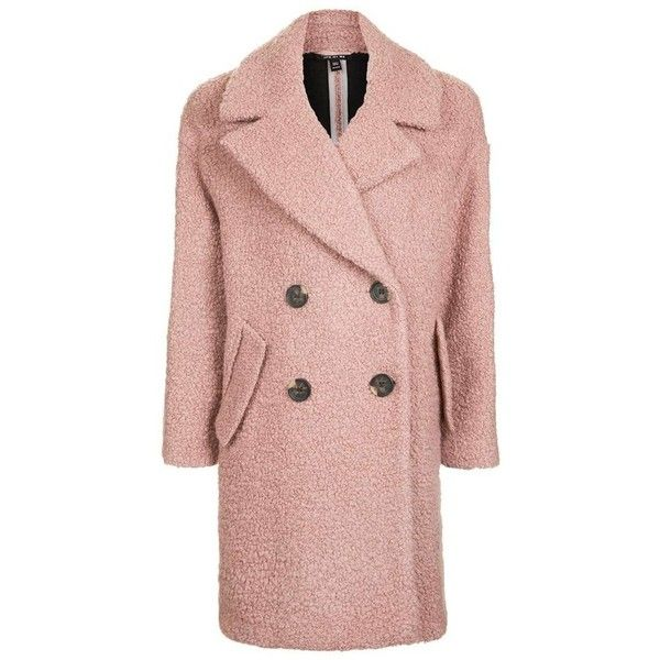 TOPSHOP Alicia Bouclé Coat (€105) ❤ liked on Polyvore featuring outerwear, coats, boucle coats, pink coats, pastel coat, pastel pink coat and pink boucle coat