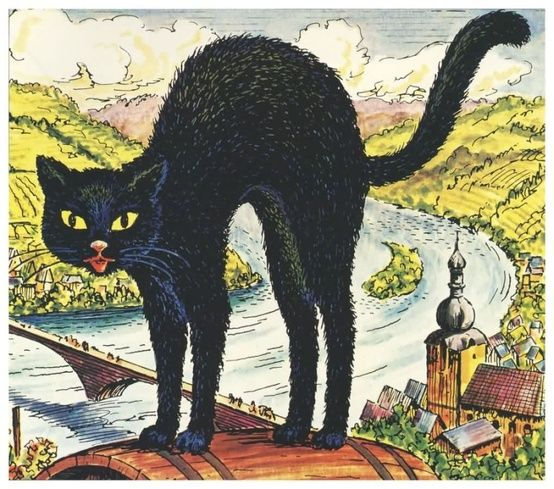 vintage black cat art