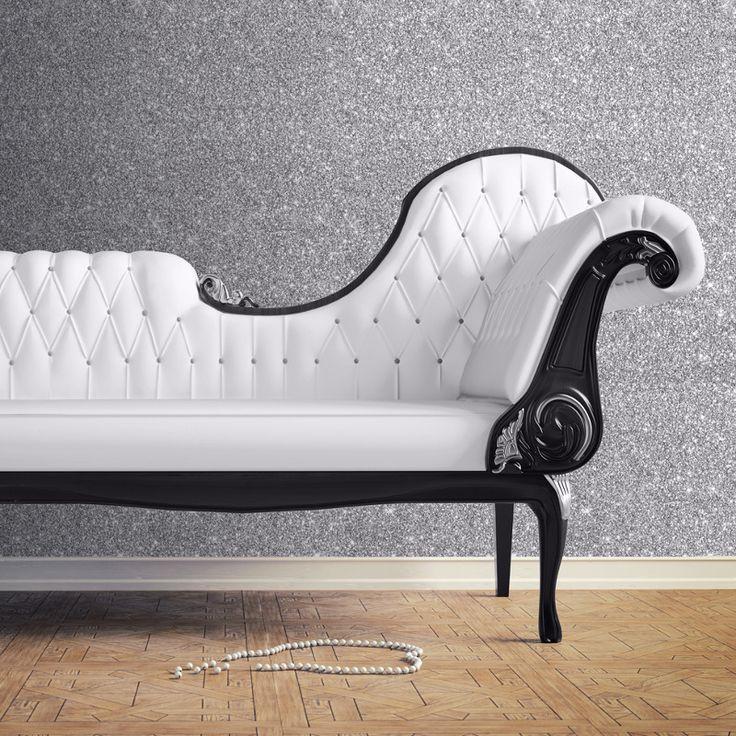 Muriva Sparkle Plain Glitter Wallpaper - Silver - http://godecorating.co.uk/muriva-sparkle-plain-glitter-wallpaper-silver/