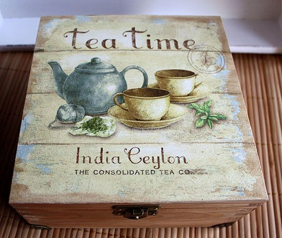 This tea box is decoupaged in fine paper, in vintage Ceylon tea label motif. The box is wooden, decorated by me and quite unique. Very well
