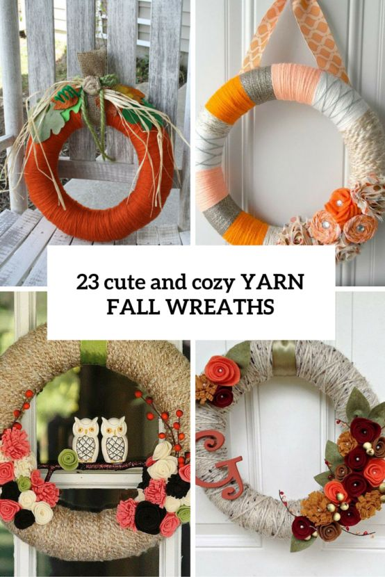 Looking for an easy decorations for indoors and outdoors? Go for a fall yarn wreath! This is a super easy craft, for which you'll need just a wreath form and #wreaths #yarnwreaths